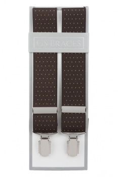 Brown Suit Trouser Braces With Golden Yellow Dots